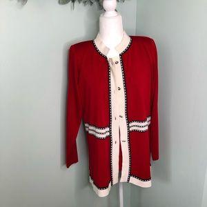 Misook Cardigan Sweater Set Red Medium